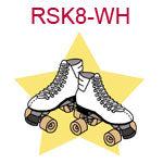 RSK8-WH White roller skates on yellow star background