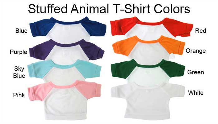 examples of teddy bear shirt sleeve colors