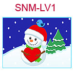 SNM-LV1 Snowman holding red heart, blue bird on hat