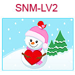 SNM-LV2 Girl snowman with red heart and red bird on hat