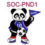 SOC-PND1 A boy panda soccer player in a blue outfit holding a flag and soccer ball