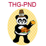 THG-PND A panda wearing a pilgrim hat and holding a cooked turkey
