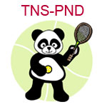 TNS-PND A panda holding a tennis ball and racket on pale green background