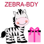 ZEBRA-BDY Smiling zebra standing next to pink package
