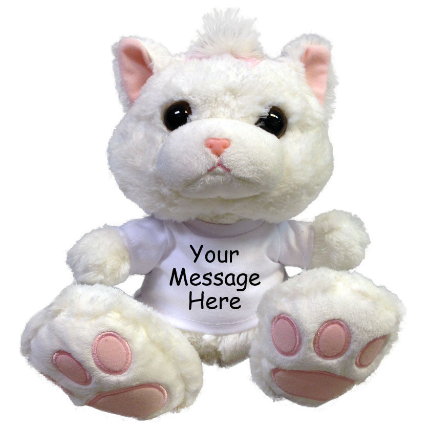 "Personalized Stuffed Cat - 10"" Aurora Plush Taddle Toes White Kitty"
