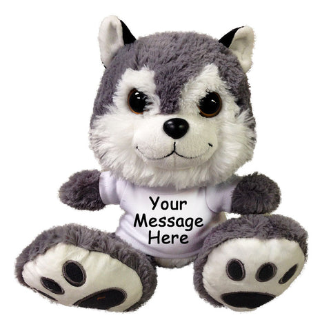 "Personalized Stuffed Dog (or Wolf) - 10"" Aurora Plush Taddle Toes Howler Husky"