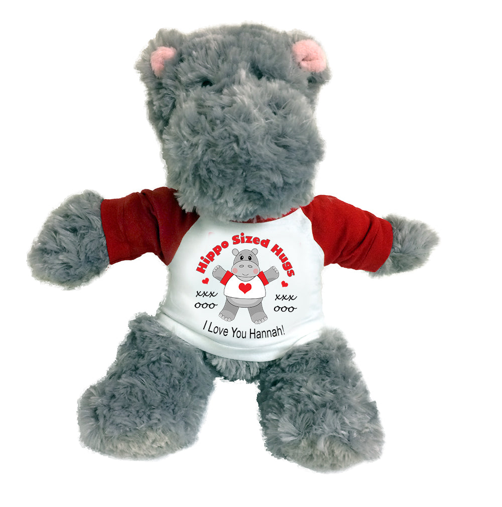 "Hippo Sized Hugs  -  Personalized 12"" Stuffed Hippopotamus for Valentines or Love - Red"