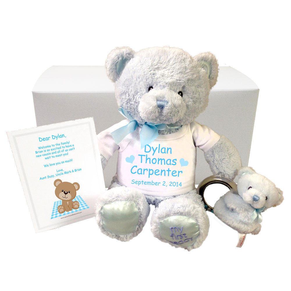 Personalized baby boy teddy bear gift set gund blue baby bear personalized teddy bear gift set for baby boy blue gund bear negle