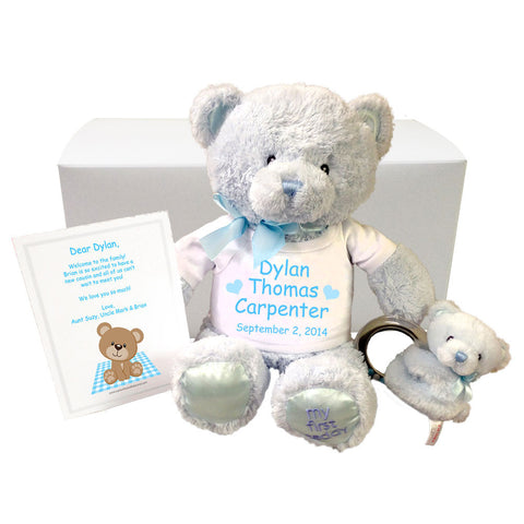 Personalized Teddy Bear Gift Set for Baby Boy - Blue Gund Bear