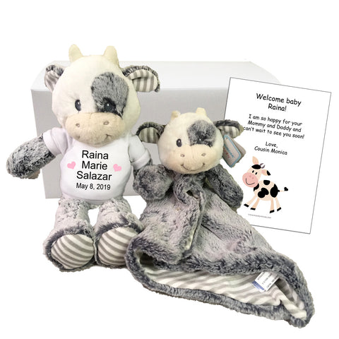 "Baby Gift Set - Personalized 12"" Stuffed Coby Cow with 16"" luvster blanket"