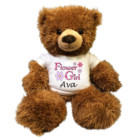 "Personalized Flower Girl Teddy Bear - 14"" Brown Tummy Bear"