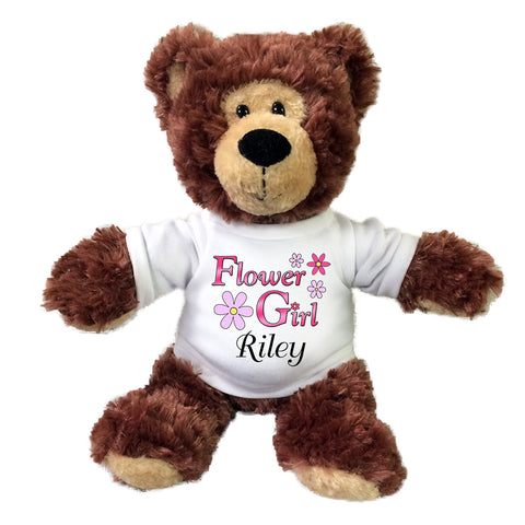 "Personalized Flower Girl Teddy Bear - 12"" Brown Grizzly Bear"