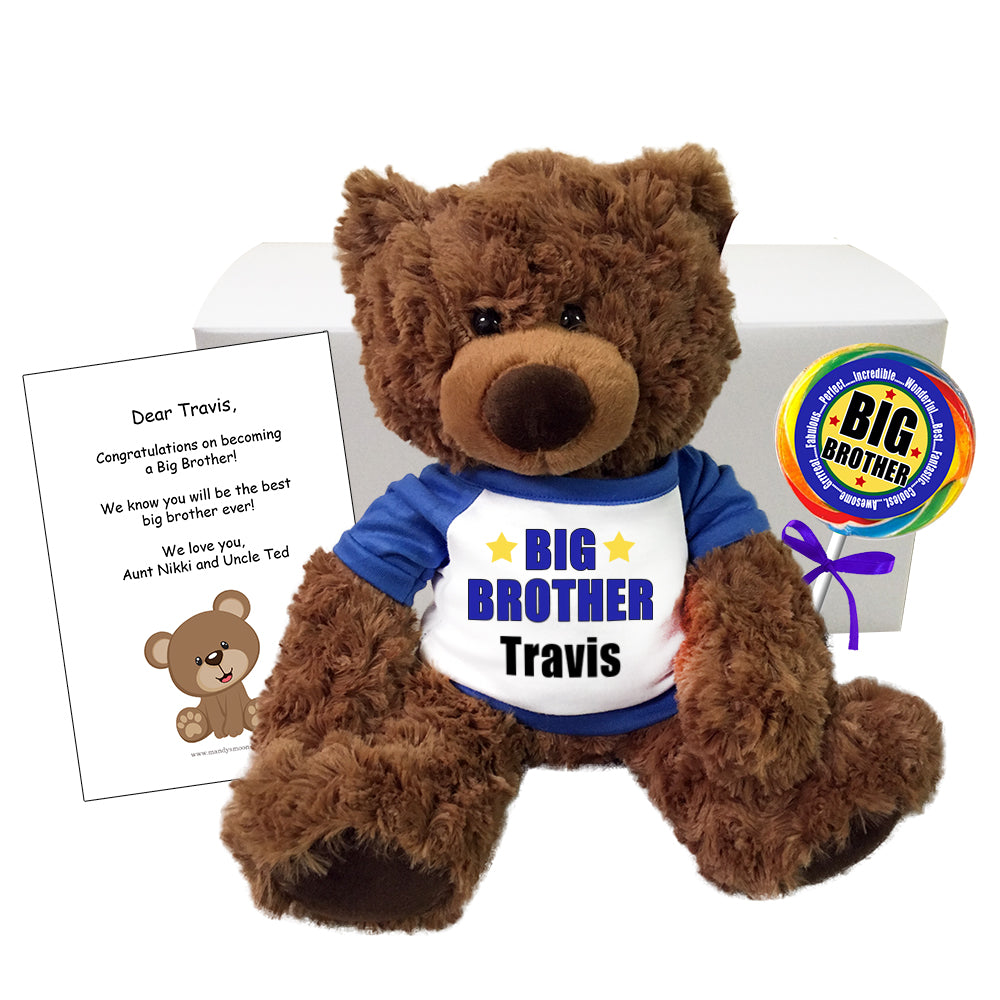 "Personalized Big Brother Teddy Bear Gift Set - 13"" Coco Bea"