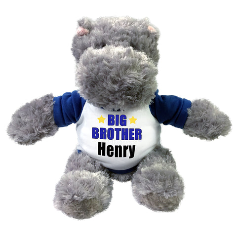 "Personalized Big Brother Hippo - 12"" Stuffed Hippopotamus"
