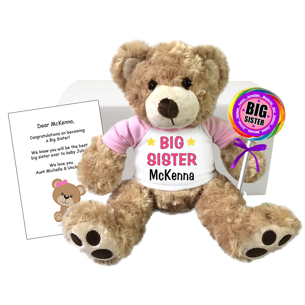 Personalized Big Sister Teddy Bear Gift Set