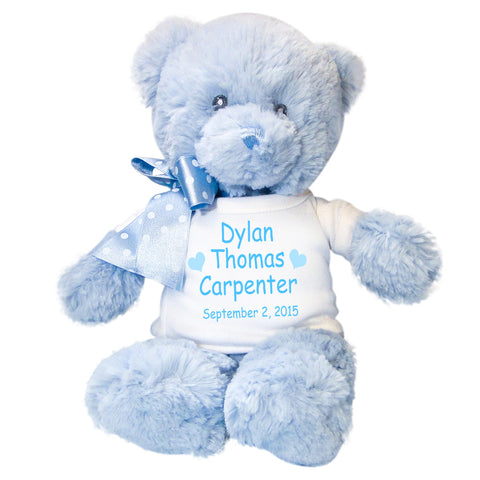 "Personalized Teddy Bear for Baby Boy- 12"" Blue Baby Bear"