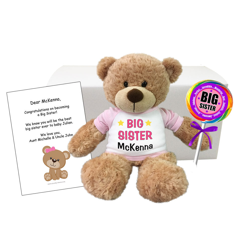 "Personalized Big Sister Teddy Bear Gift Set - 13"" Bonny Bear"