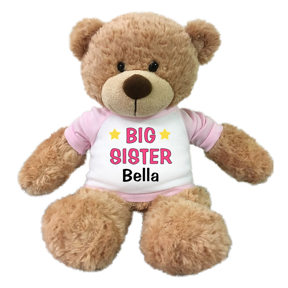 "Personalized Big Sister Teddy Bear - 13"" Bonny Bear Pink"