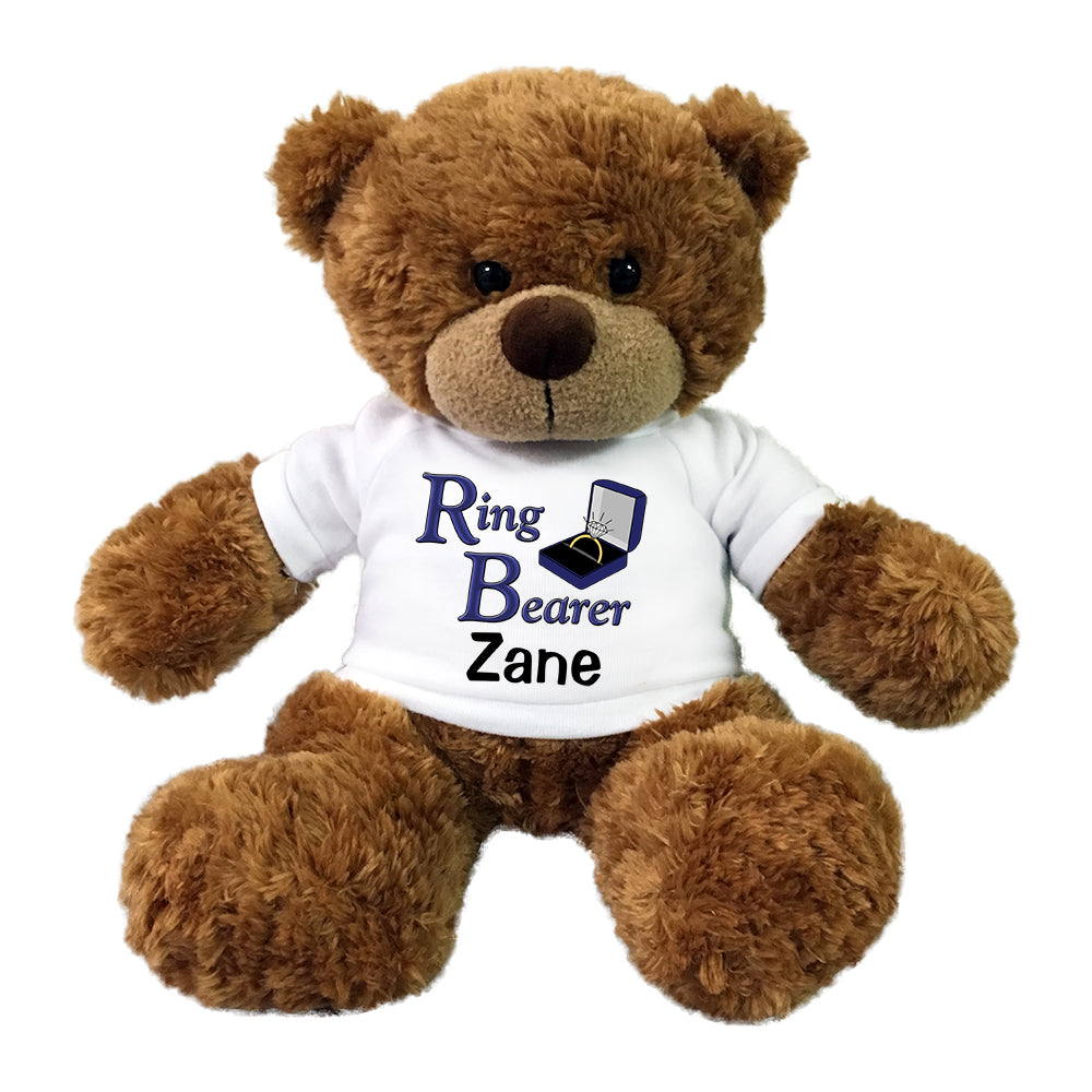 "Copy of Personalized Ring Bearer Teddy Bear - 13"" Bonny Bear - Brown"