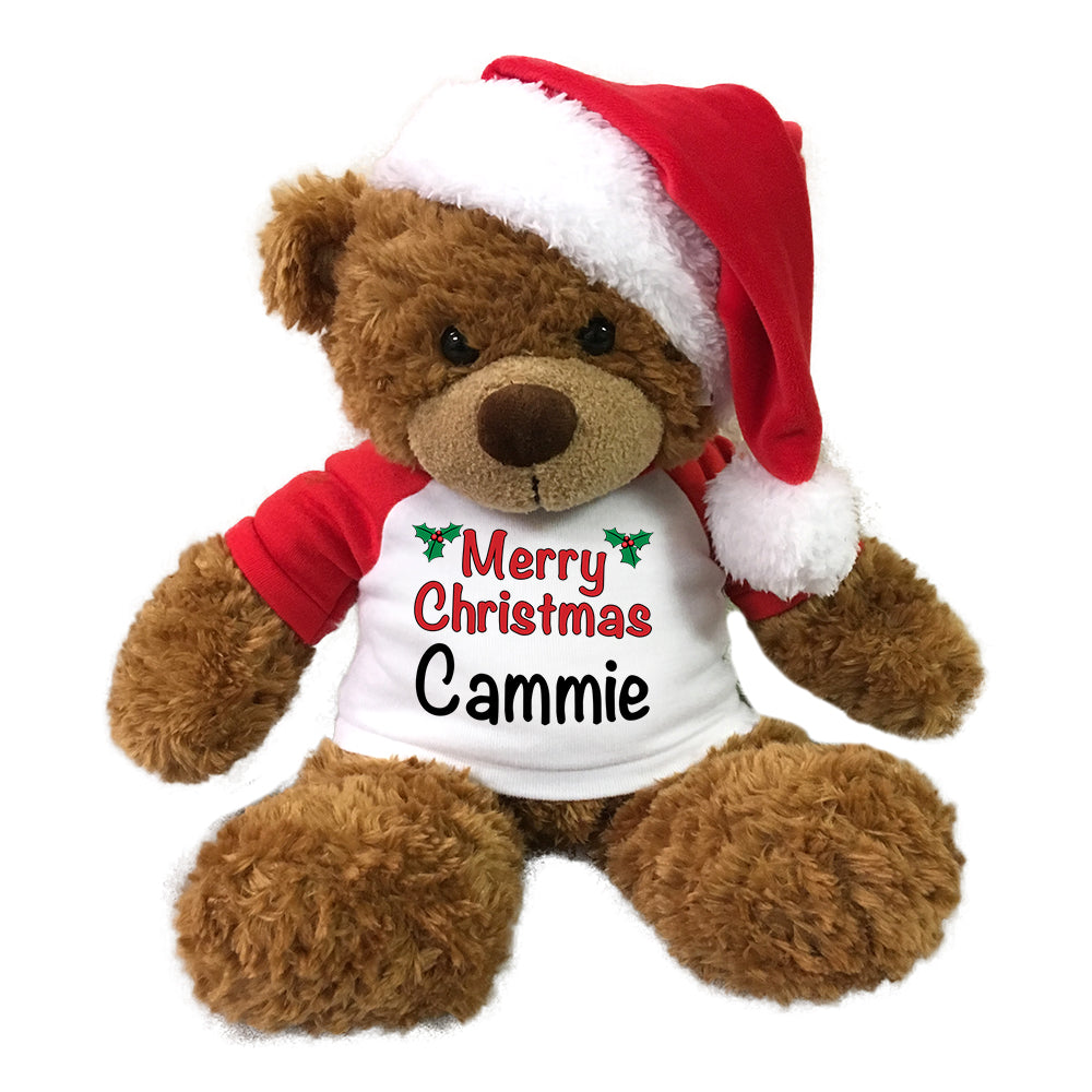"Personalized Christmas Teddy Bear - 13"" Brown Bonny Bear with Santa Hat"