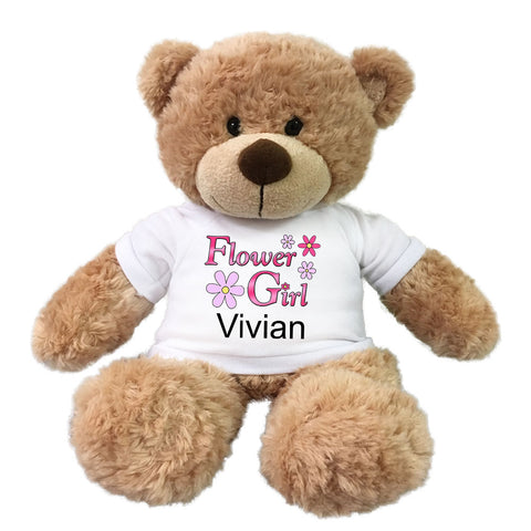 "Personalized Flower Girl Teddy Bear - 13"" Bonny Bear"