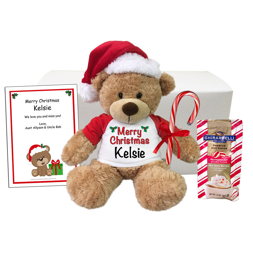 "Personalized Christmas Teddy Bear Gift Set - 13"" Bonny Bear"