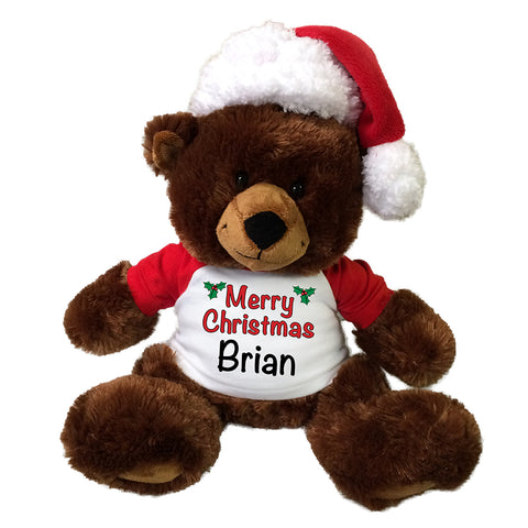 "Christmas Teddy Bear - Personalized 14"" Buxley Bear"
