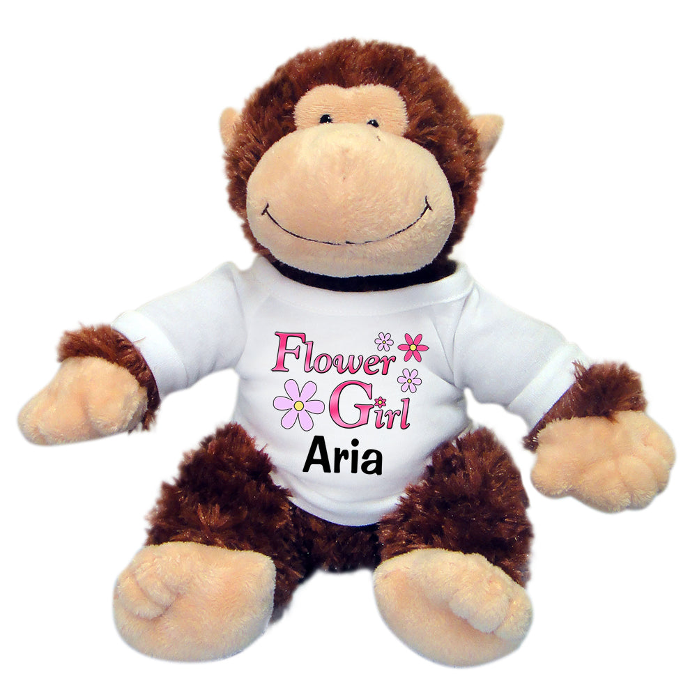 "Personalized Flower Girl Monkey - 12"" Stuffed Chimp"