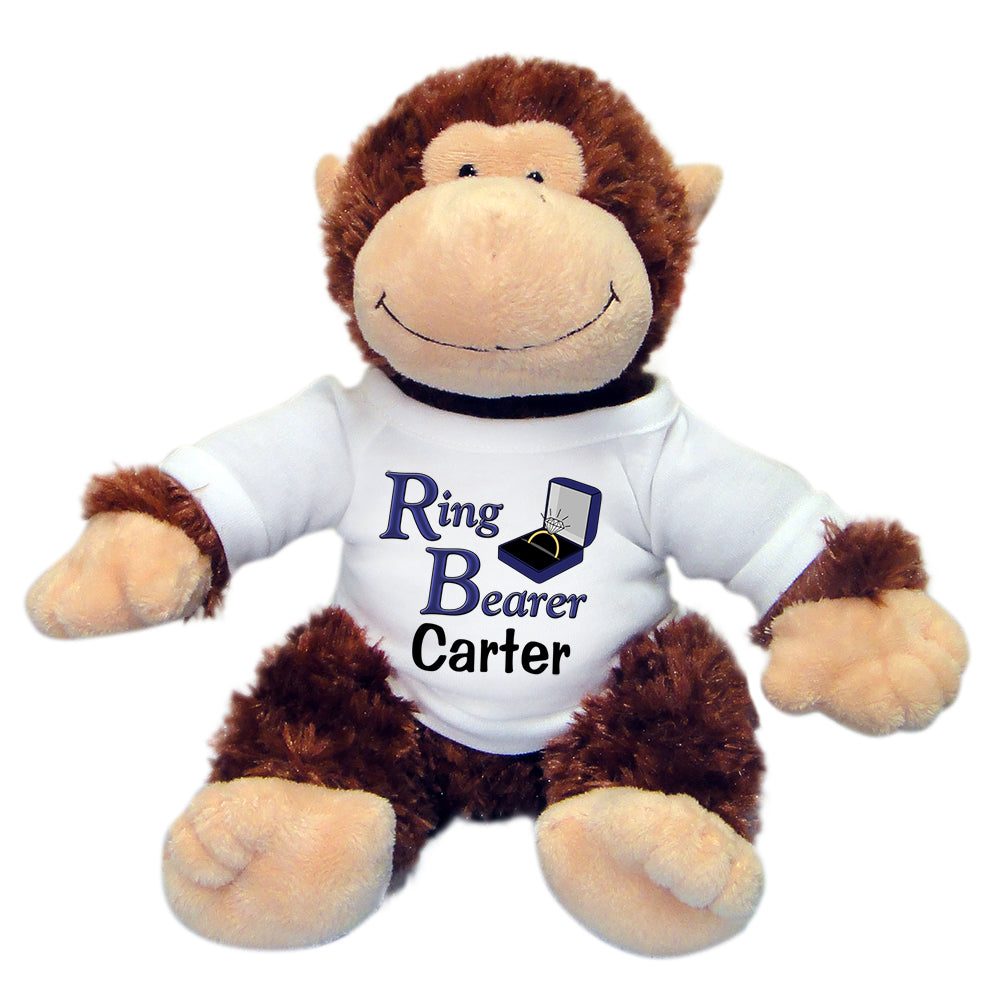 "Personalized Ring Bearer Monkey - 12"" Stuffed Chimp"
