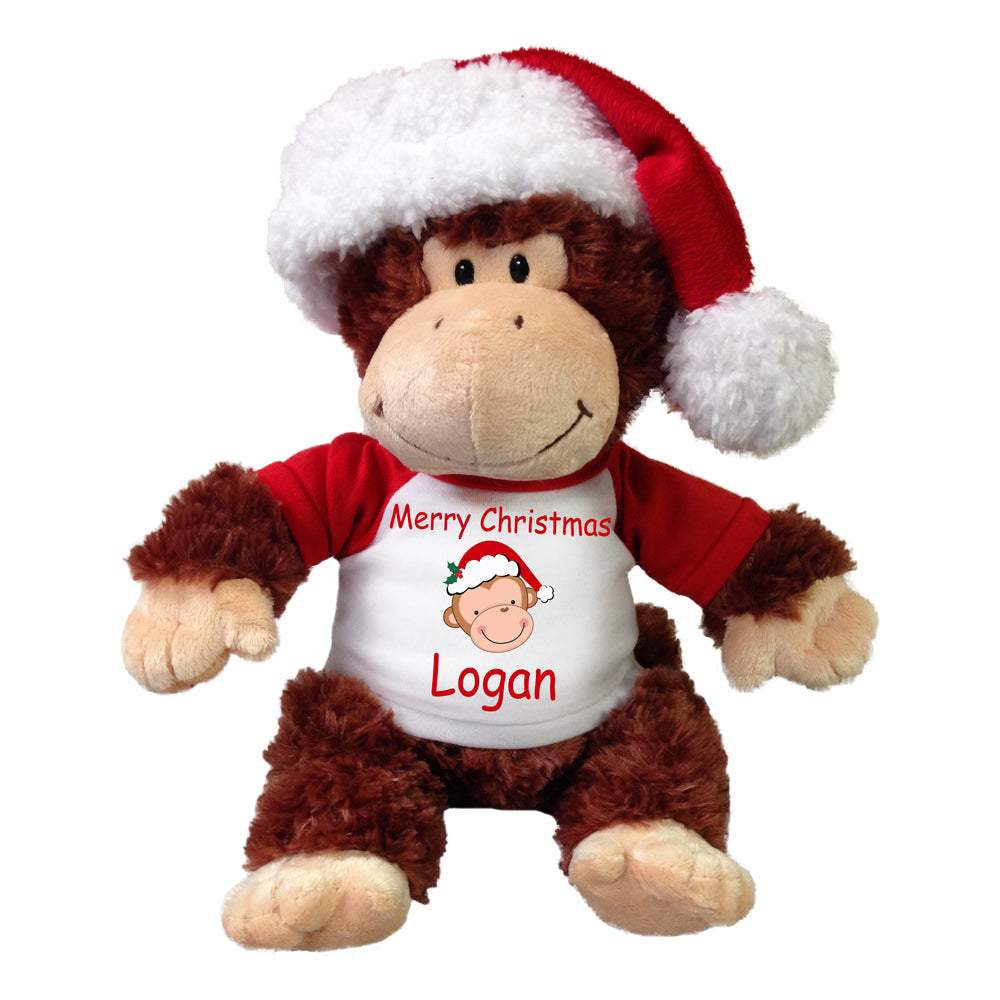Personalized Christmas Monkey - 12 Inch Tubbie Wubbie Chimp with Santa Hat
