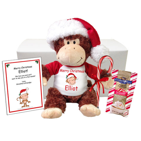 "Personalized Christmas Monkey Stuffed Animal Gift Set - 12"" Chimp"