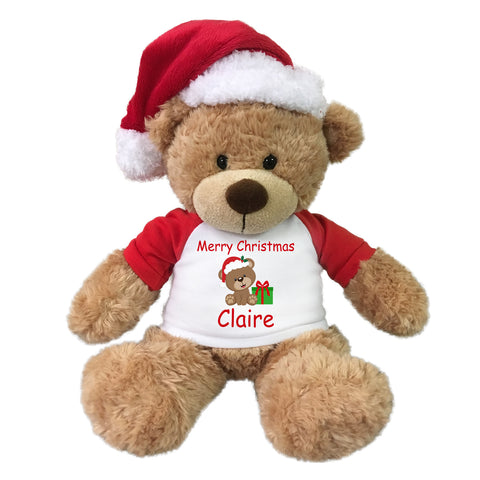 "Personalized Christmas Teddy Bear - 14"" Tan Bonny Bear with Santa Hat"