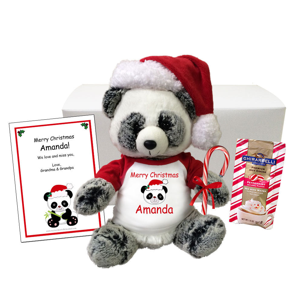 "Personalized Christmas Panda Gift Set - 11"" Ping Panda Bear"