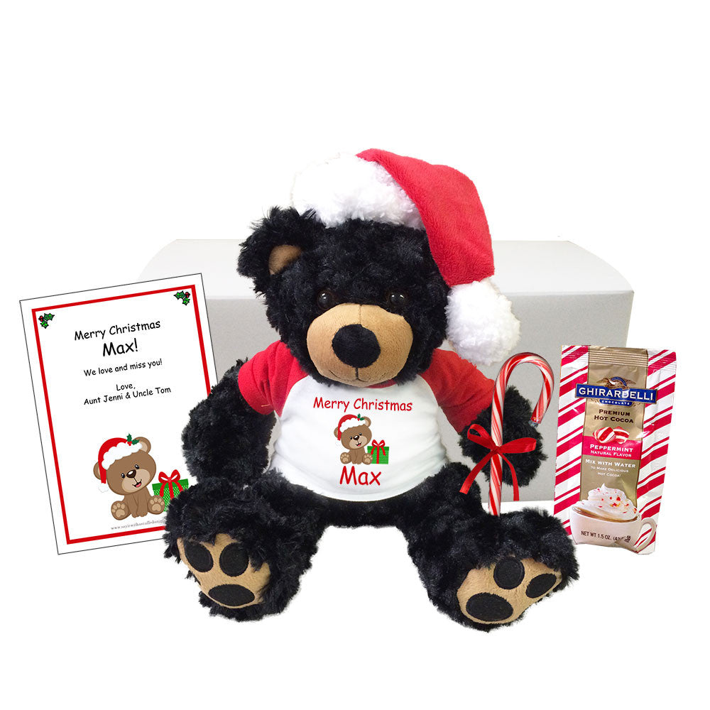 "Personalized Christmas Teddy Bear Gift Set - 13"" Black Vera Bear"