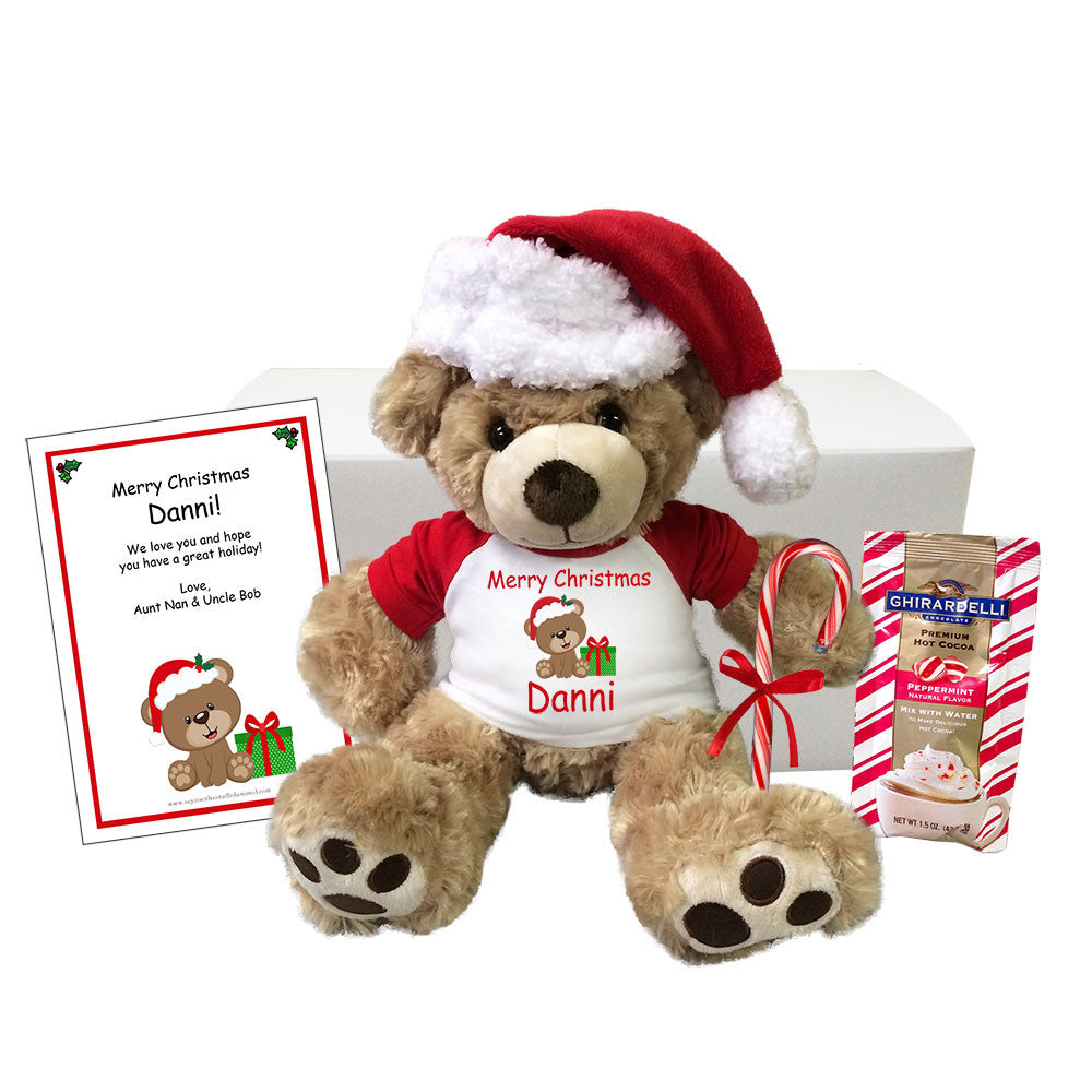 "Personalized Teddy Bear Christmas Gift Set - 13"" Honey Vera Bear"