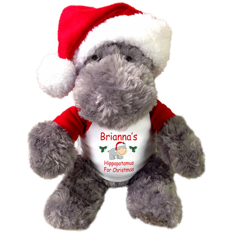 "Hippo for Christmas - 12"" Personalized Stuffed Hippopotamus with Santa Hat"