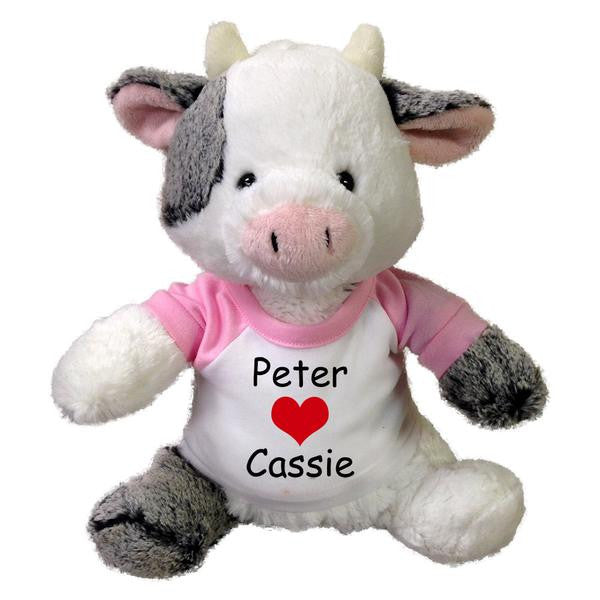 "Personalized Valentine Cow - 11"" Plush Clementine Cow"