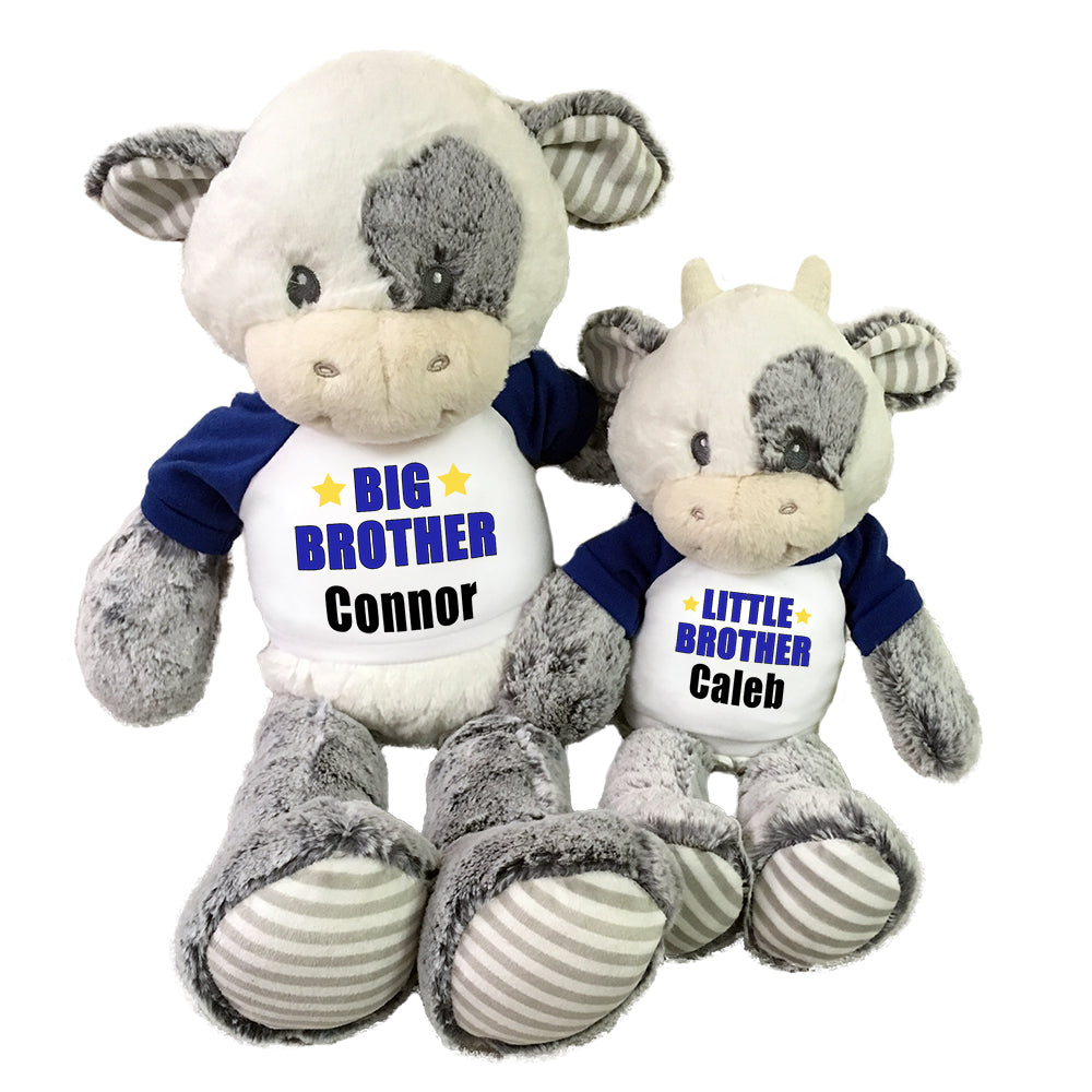 "Big Brother / Little Brother Personalized stuffed Cows- Set of 2 Coby Cows,, 20"" and 12"""