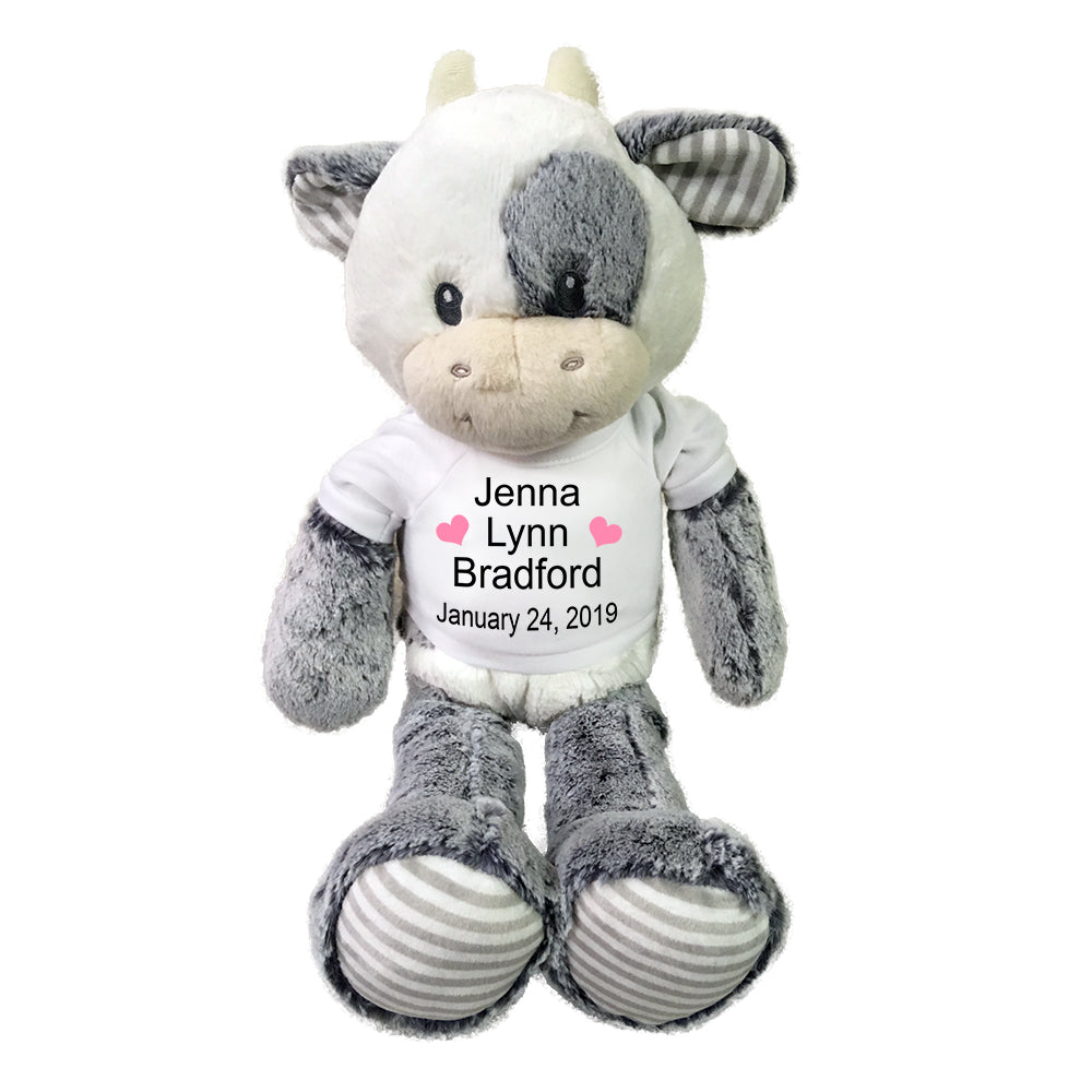 "Personalized Stuffed Cow for Baby Girl or Boy - 20"" Coby Cow, Ebba Baby Collection"