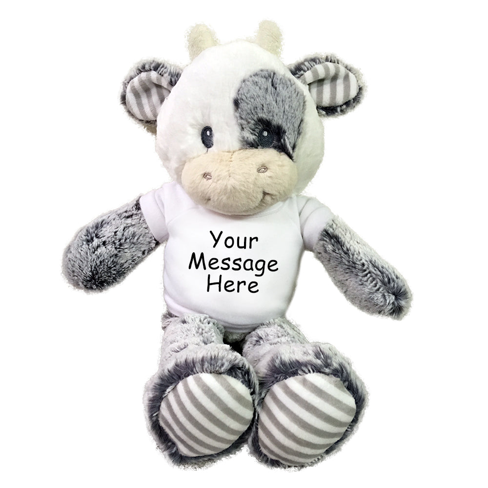 "Personalized Stuffed Cow - Small 12"" Coby Cow, Ebba Baby Plush Collection"