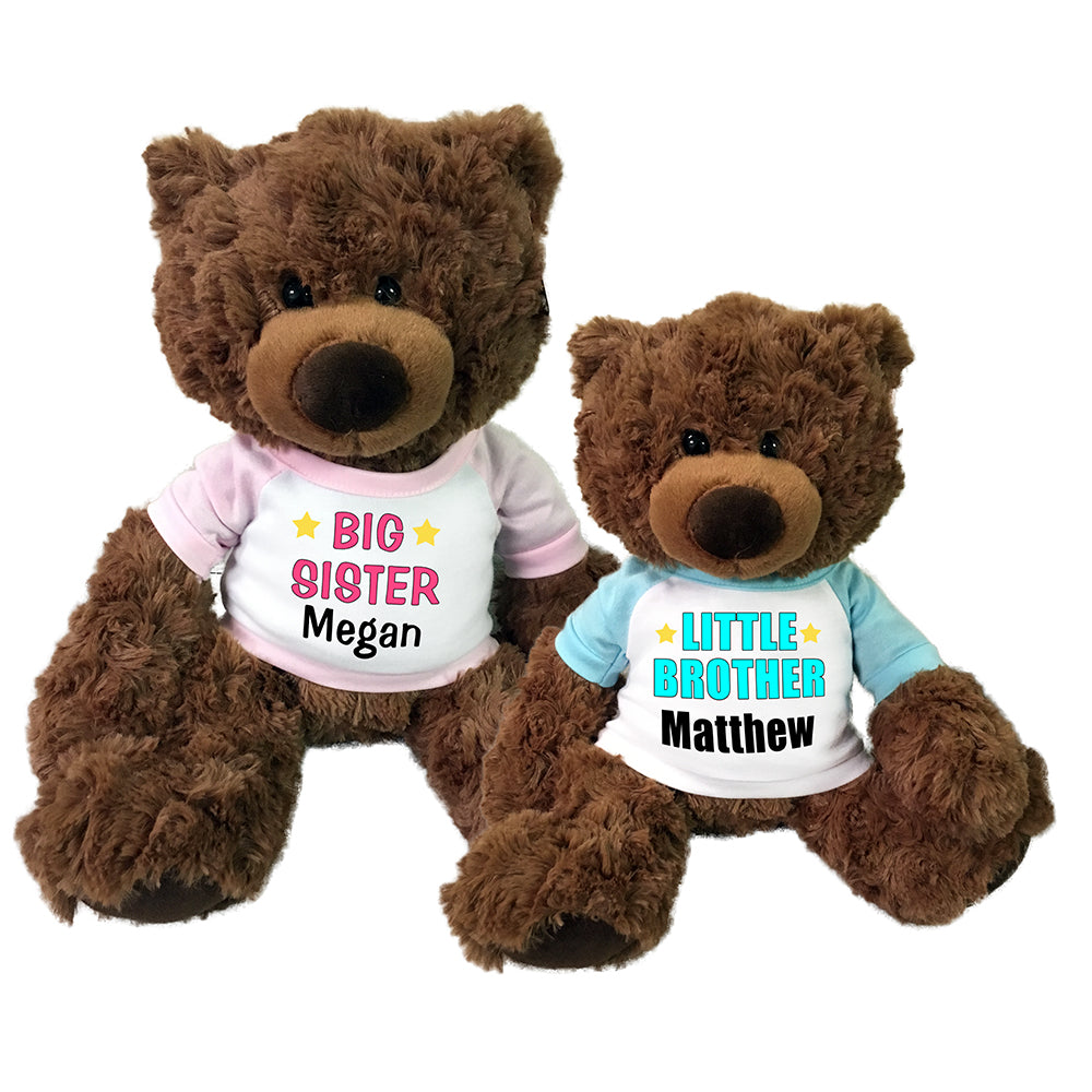 "Big Sister / Little Brother Teddy Bears - Set of 2 Coco Bears, 15"" and 13"""