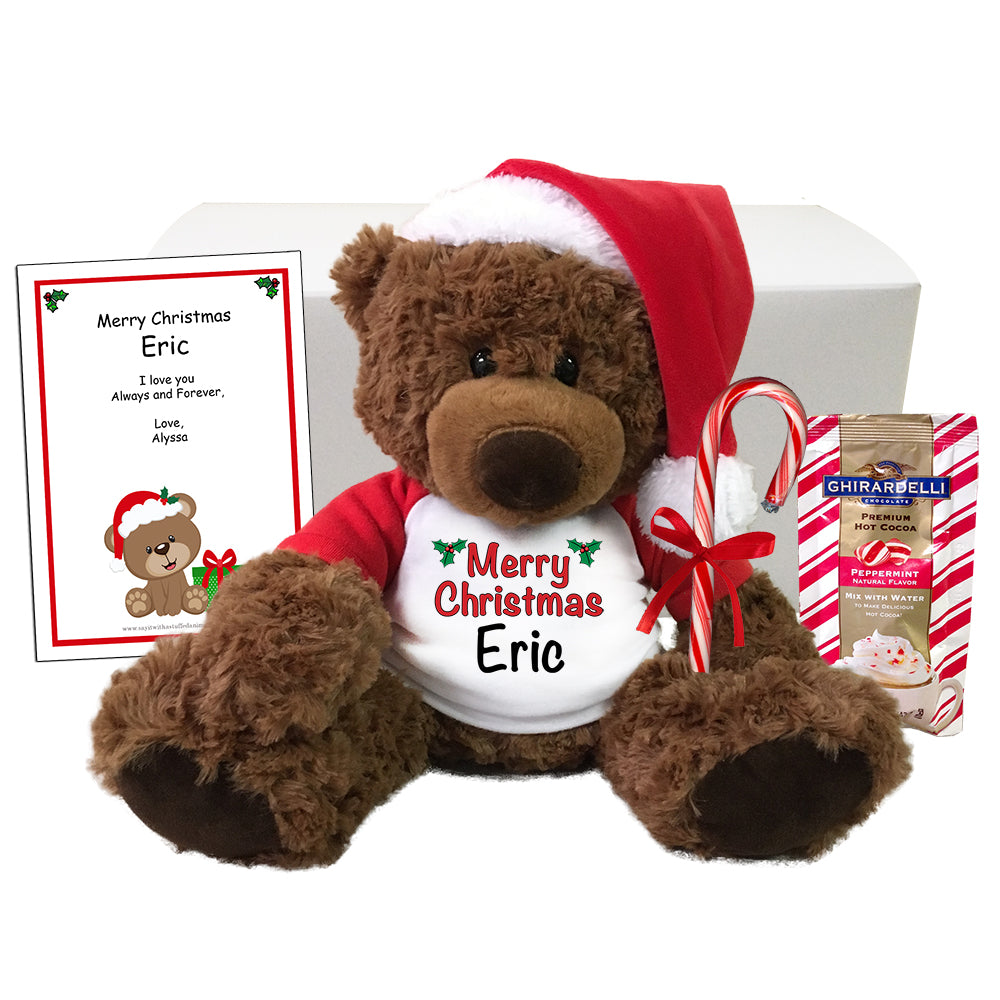 "Personalized Christmas Teddy Bear Gift Set - 13"" Coco Bear"