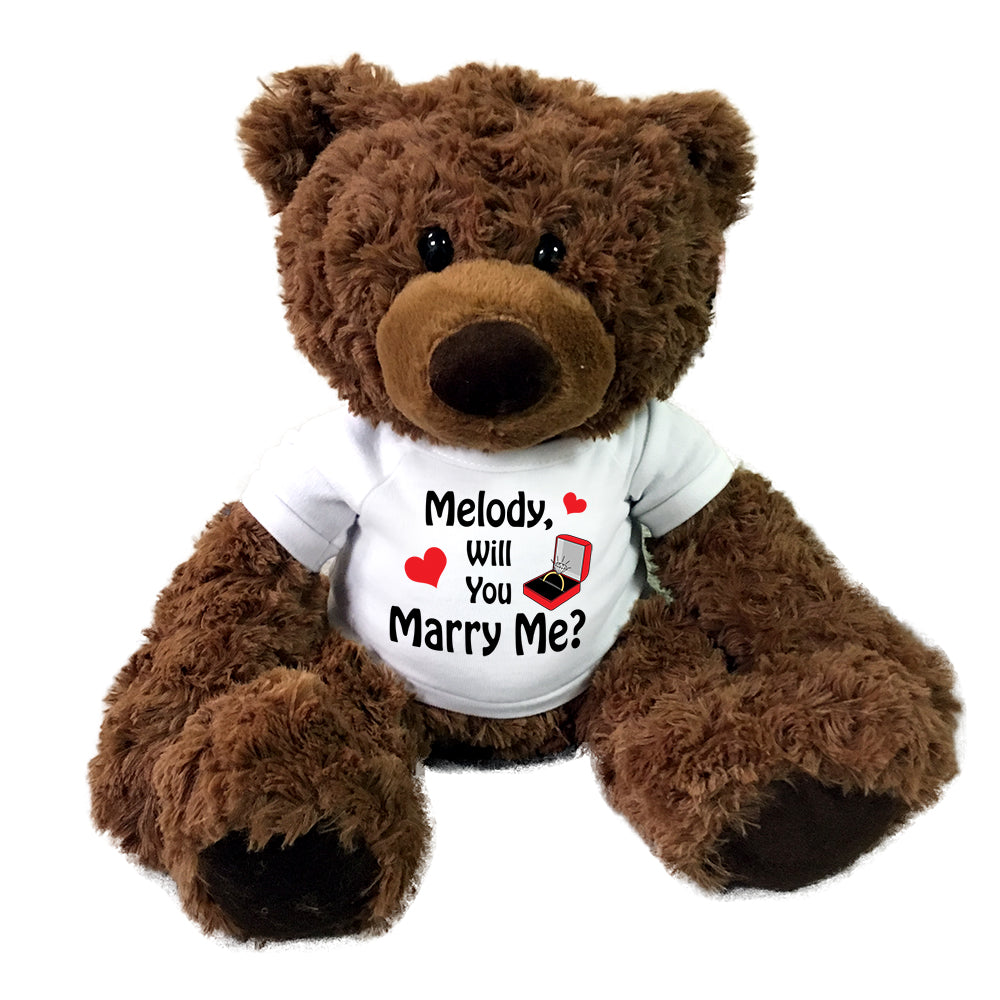 "Will You Marry Me Proposal Teddy Bear - Personalized 15"" Coco Bear"