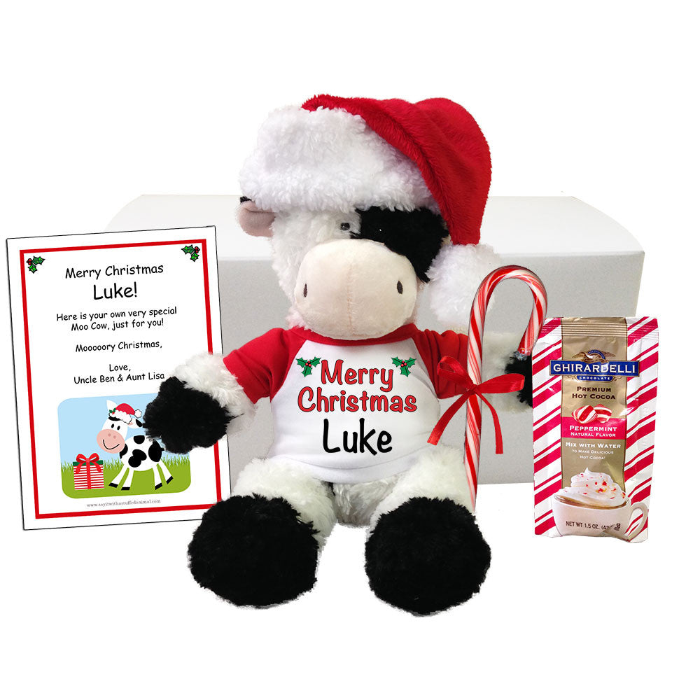 Personalized Plush Christmas Cow Stuffed Animal Gift Set