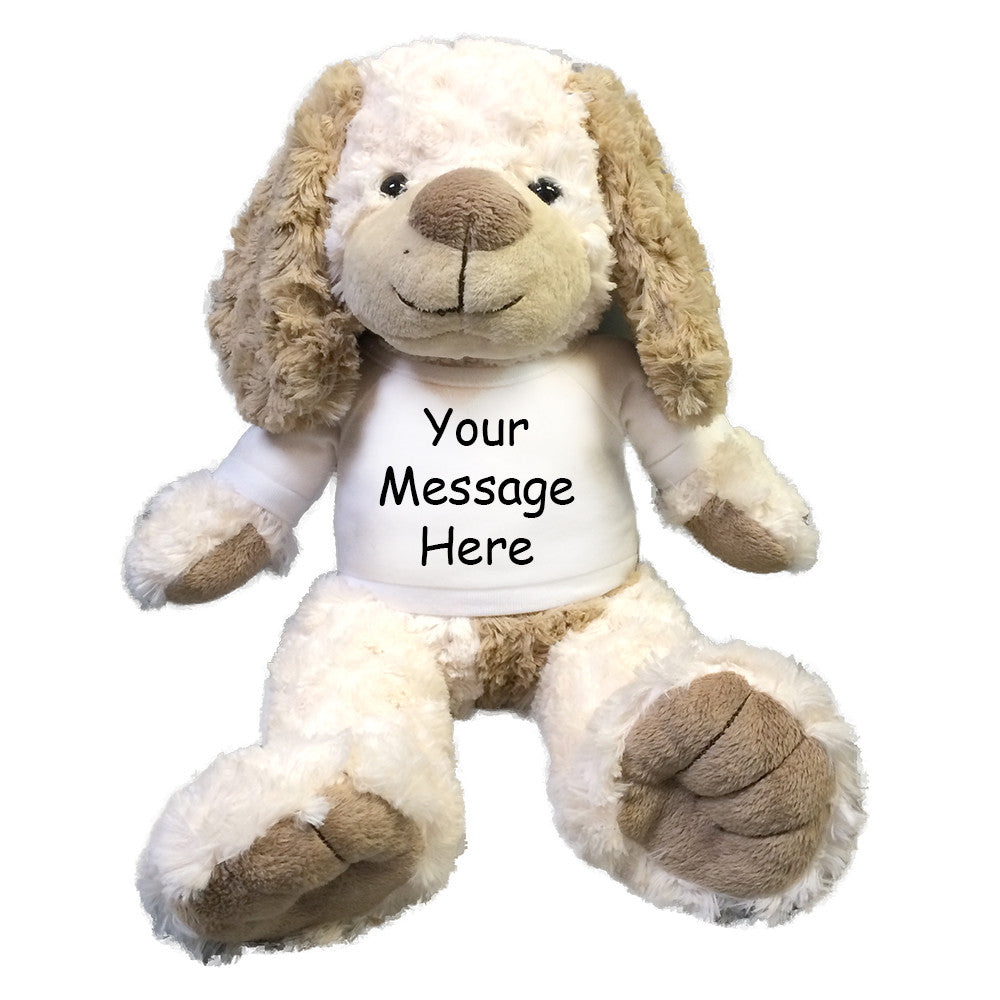 Personalized Plush Dog - Cream and Brown Puppy