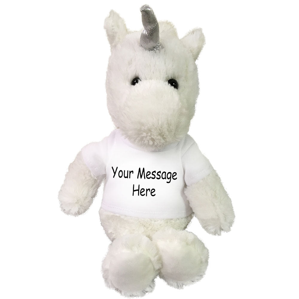Personalized Stuffed Unicorn - 10 inch Small Cuddle Pals White Unicorn