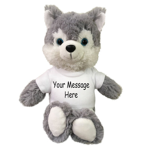 Personalized Stuffed Wolf / Husky - 10 inch Small Cuddle Pals
