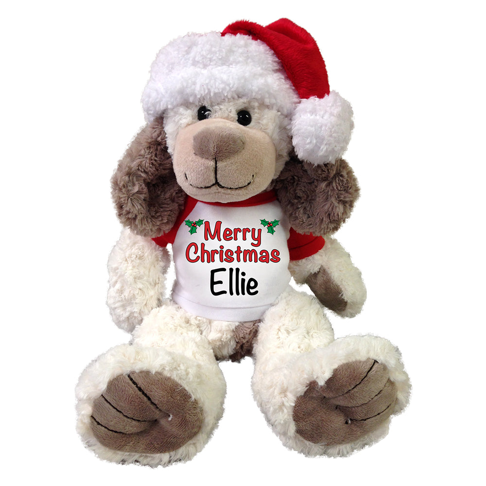 Personalized Christmas Dog - 14 Inch Cream and Brown Dog with Santa Hat