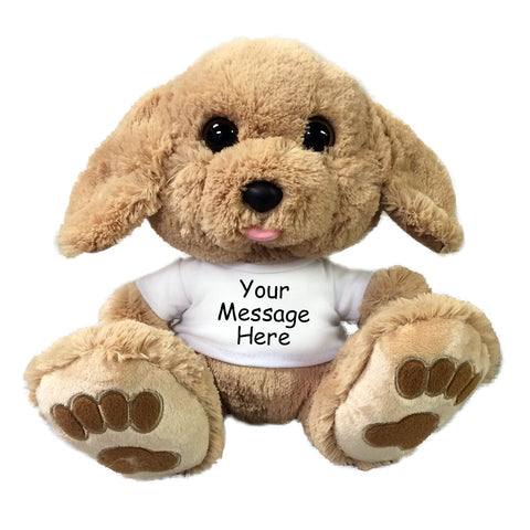"Personalized Stuffed Dog - 10"" Aurora Plush Taddle Toes Golden Puppy"