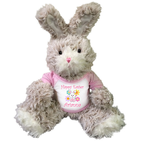 Personalized Fuzzy Easter Bunny Rabbit with Pink Shirt